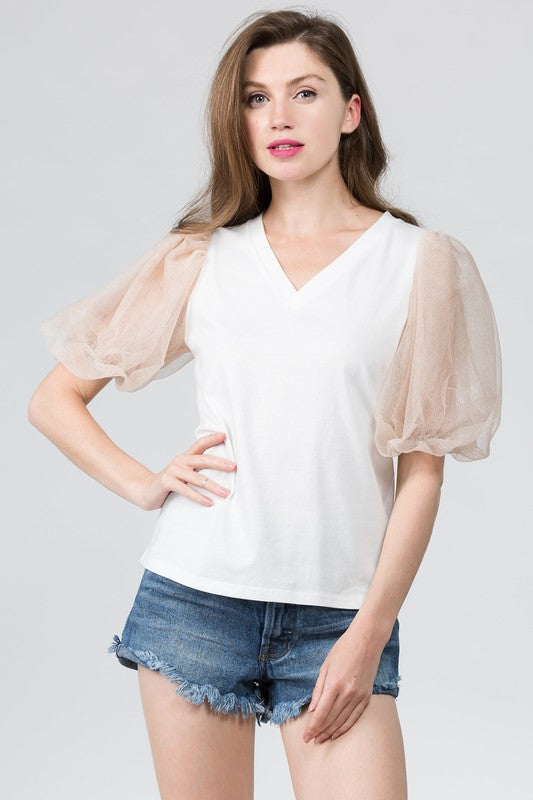 Melody Tulle Sleeve Top