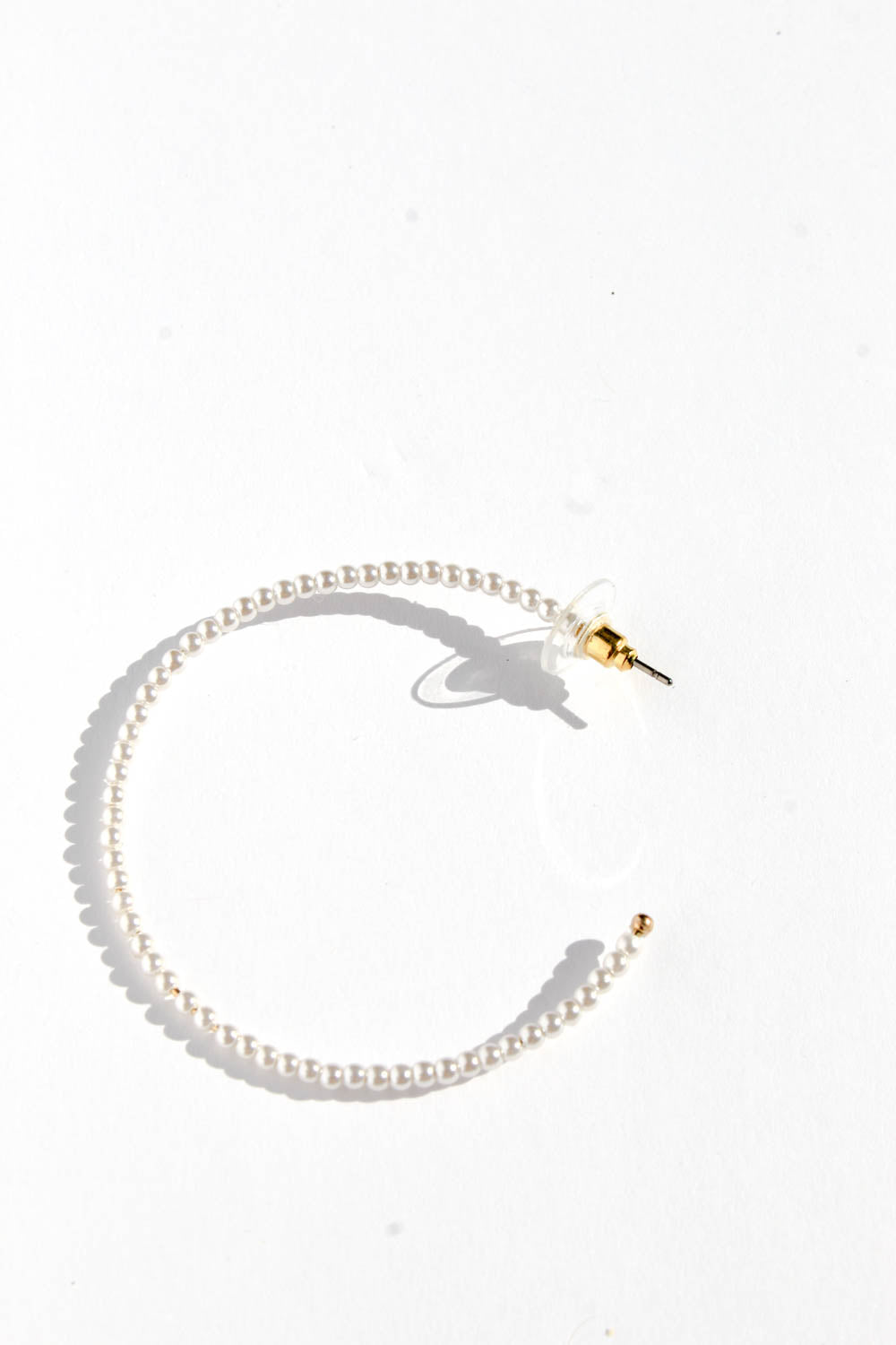 SILVI WHITE BEADED HOOPS