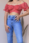 SLATE RED FLORAL CROP TOP