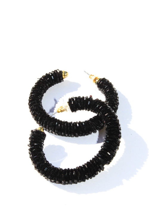 Sedona Black Beaded Hoop Earrings
