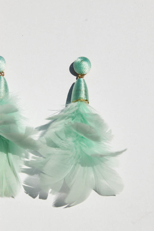 Ambrosia Feather Earrings Aquamarine