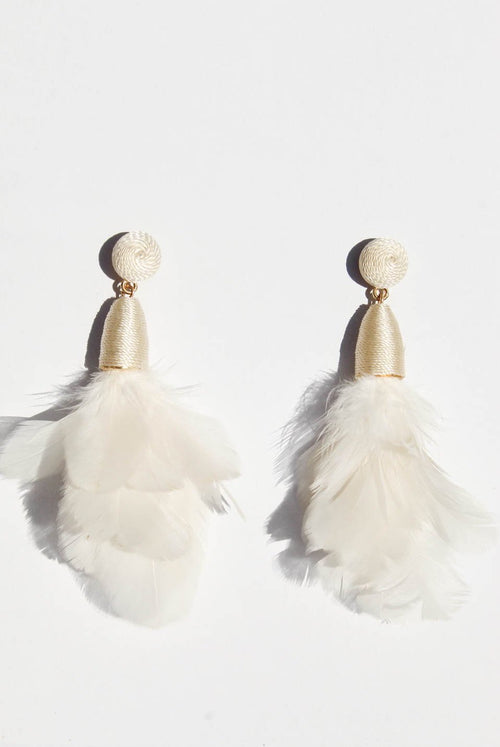 Ambrosia Feather Earrings White