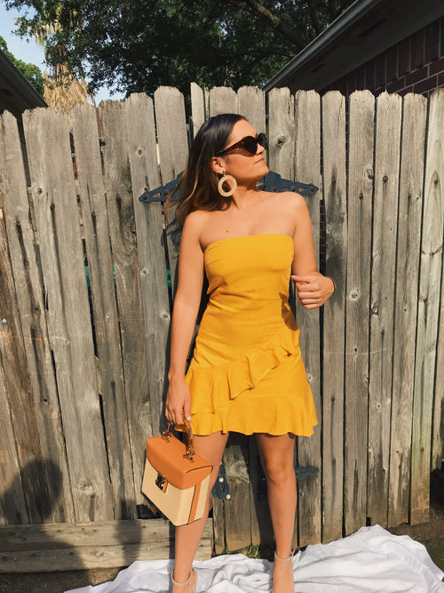 Belle Strapless Yellow Dress