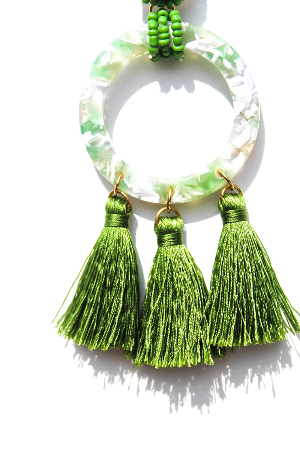 Charley Green Acetate Tassel Earrings