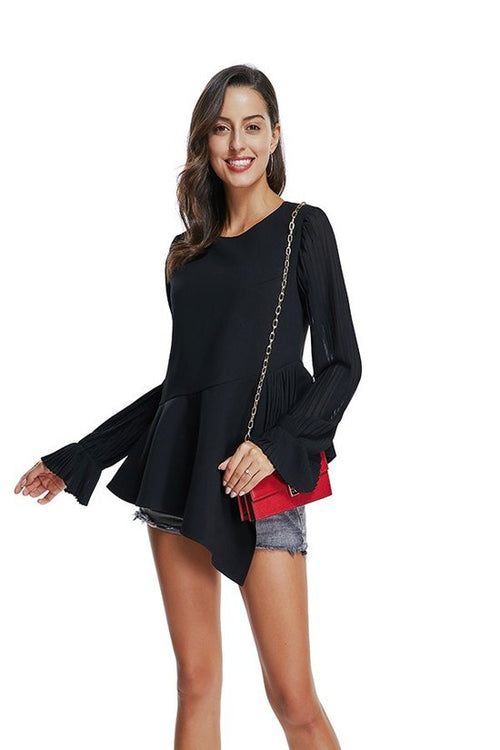 Zandra Black Pleated Top