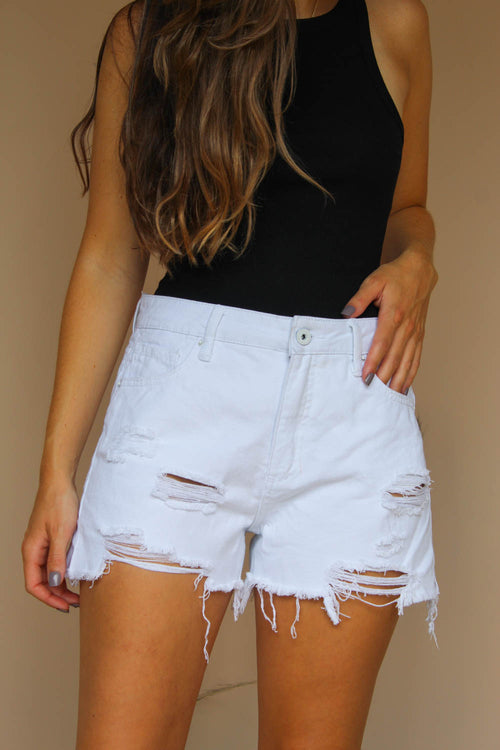 OPAL WHITE DENIM SHORTS