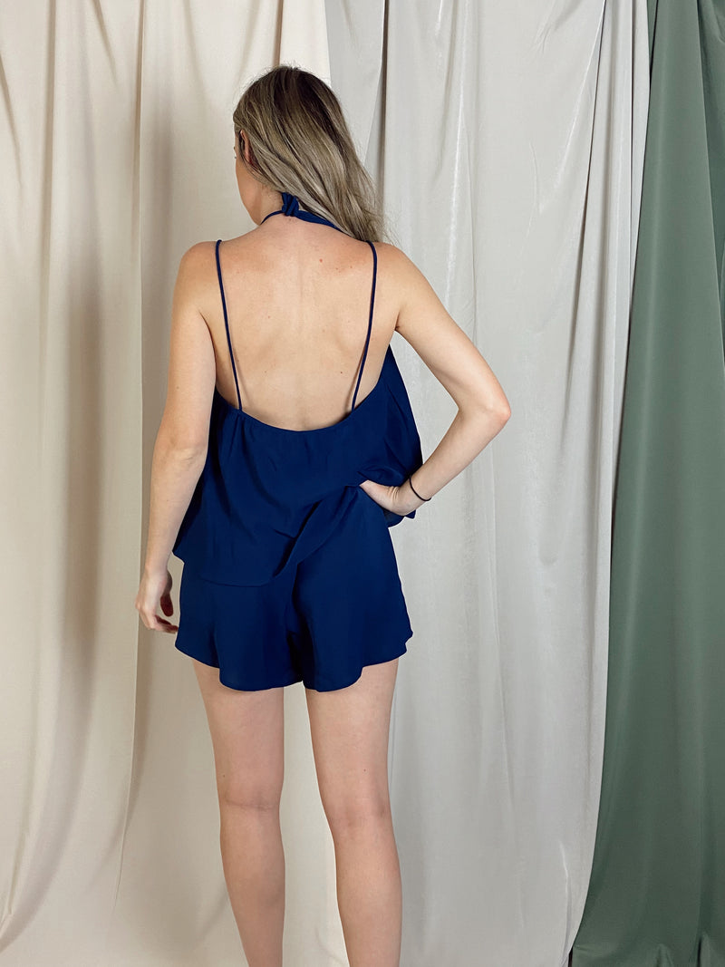 LIZ NAVY PLAYSUIT
