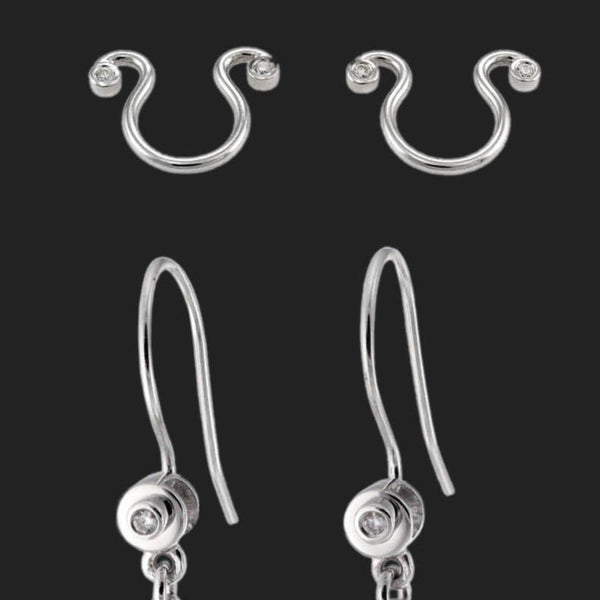 18k White Gold and Diamond Earring and Nipple Clip Set