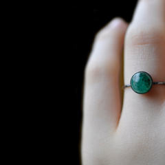 Green Aventurine Gemstone Stacking Ring, Sterling Silver, Bright or Blackened Finish