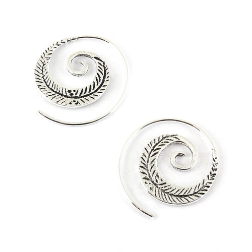 Feather Swirl Earrings - Sterling Silver