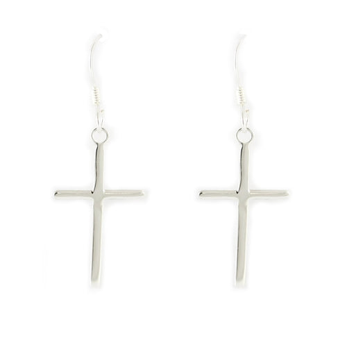 Cross Earrings - Sterling Silver