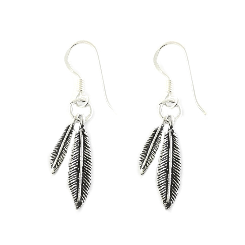 Double Feather Earrings - Sterling Silver