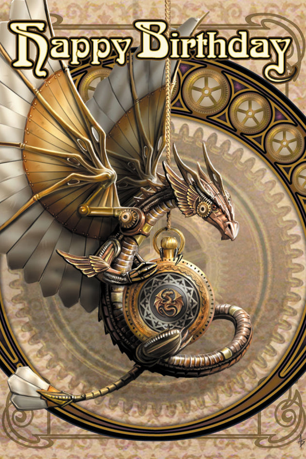 Clockwork Dragon Steampunk Greeting Card