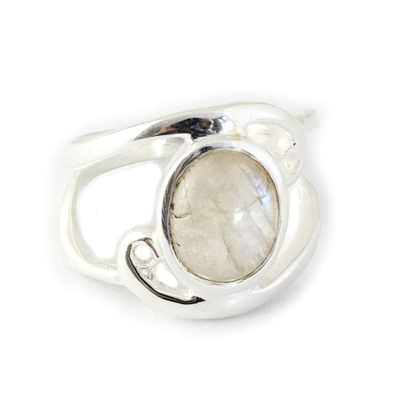 Oval Moonstone Swirl Ring - Sterling Silver