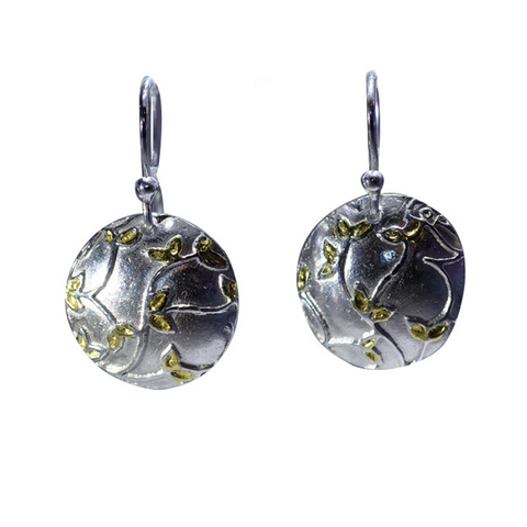 Sterling Silver & 24ct Gold Dome Earrings