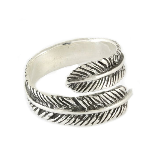 Crossover Feather Ring - Sterling Silver