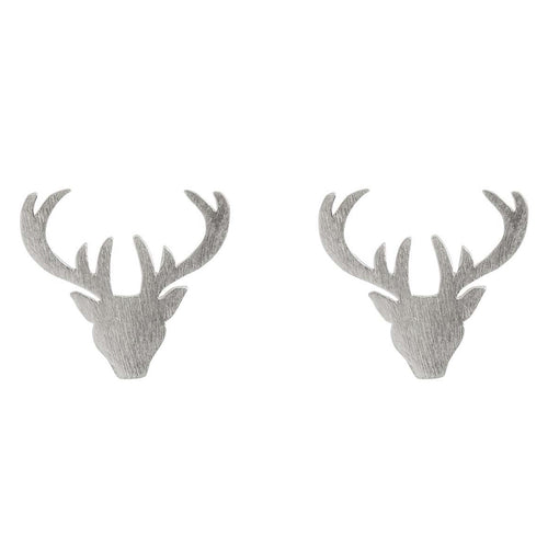 Wiccan Stag Studs - Sterling Silver