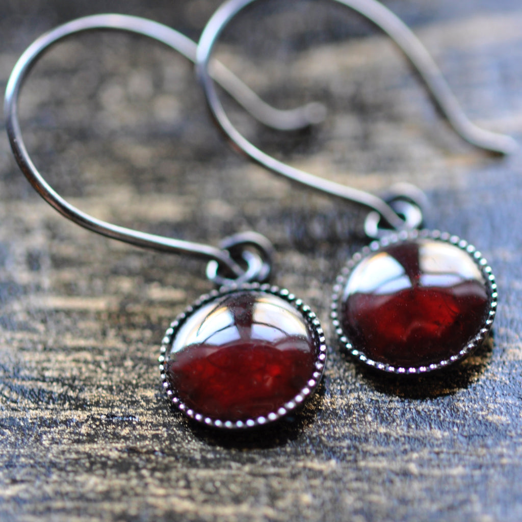 Garnet Silver Earrings - January Birthstone