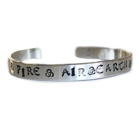 EARTH AIR FIRE WATER SPIRIT SKINNY CUFF BANGLE