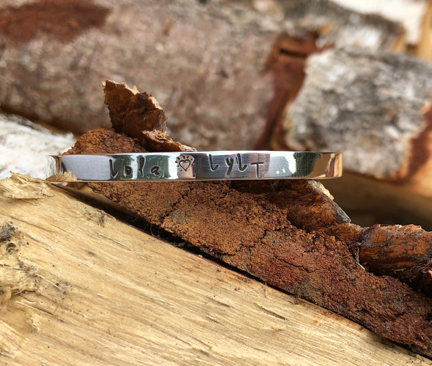 PERSONALISED NAME SKINNY CUFF BANGLE STERLING SILVER