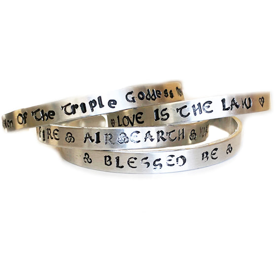 THE PROTECTION OF THE TRIPLE GODDESS RESIDES WITHIN ME SKINNY CUFF BANGLE
