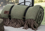 Pure New Wool Luxury Throw with Leather Strap - Crufts and Kennel Club Gifts