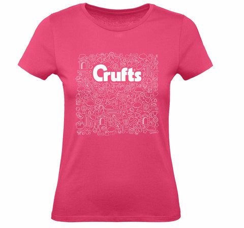 Crufts Ladies Doodle T-Shirt - Pink