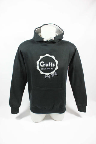 Black and Grey Crufts Rosette Hoodie