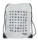 White Draw String Bag with Silhouette Print Bag - Crufts and Kennel Club Gifts