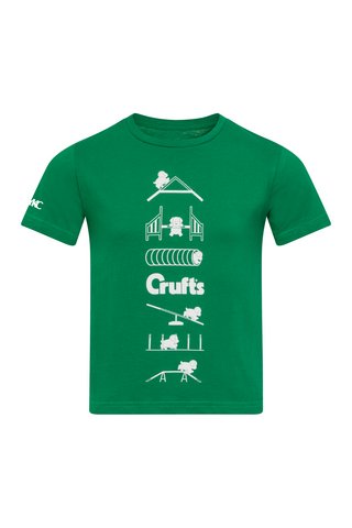 Kids Crufts & YKC Agility Course T-shirt - Green