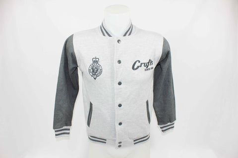 Kids Retro Varsity Jacket - Grey