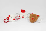 Squeaky Christmas Dog Tug Toy Collection with Reindeer, Santa and Polar Bear