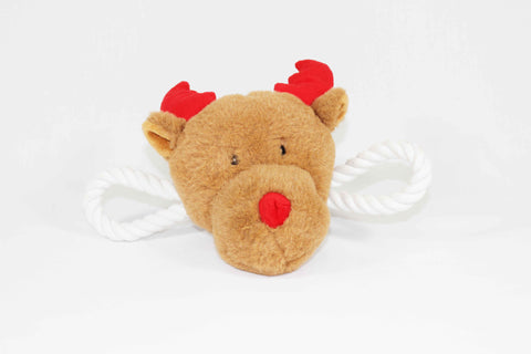 Rudolf the Reindeer Squeaky Christmas Dog Tug Toy Front View