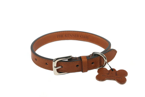Hand Made Tan Leather Kennel Club Dog Collar