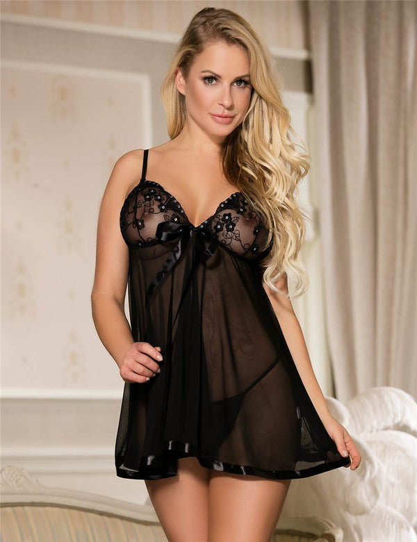 Embroidered Babydoll Nightdress