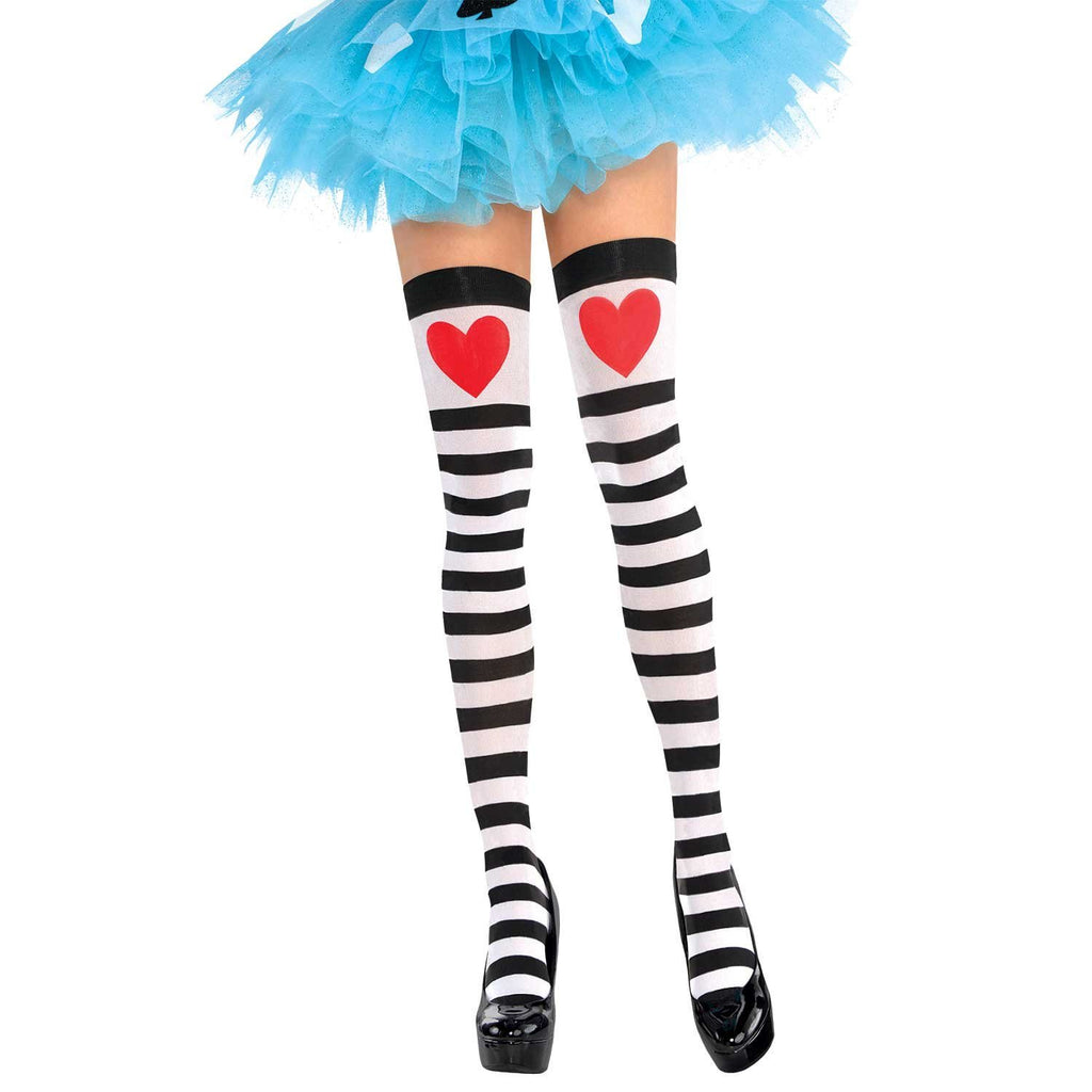 Black and White Striped Stockings with Love Heart