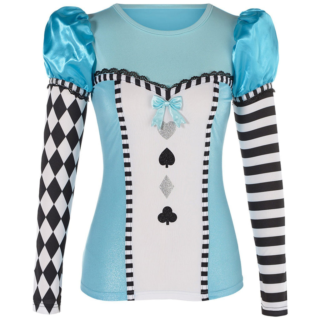 Ladies Alice in Wonderland Long Sleeve Costume Top
