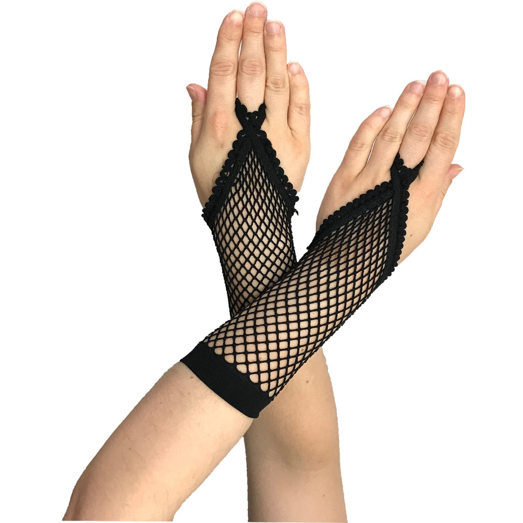 Black Net Fingerloop Gloves