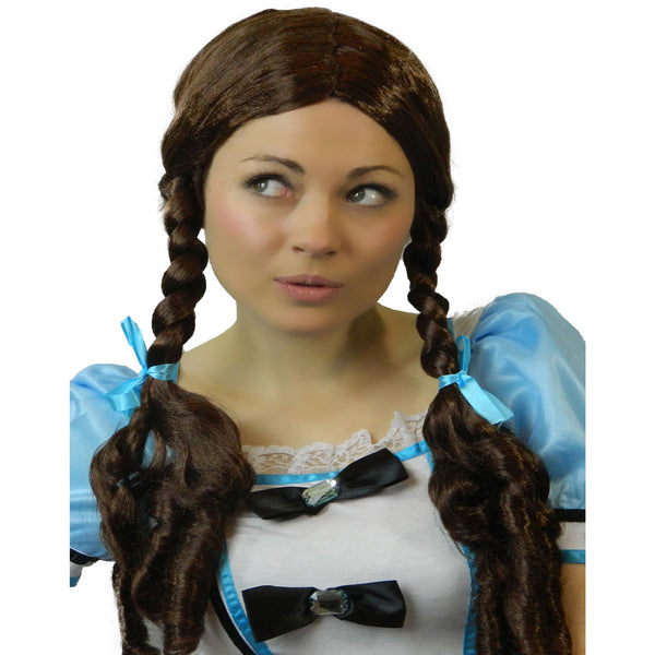 long brown plaits adult fancy dress dorothy wig