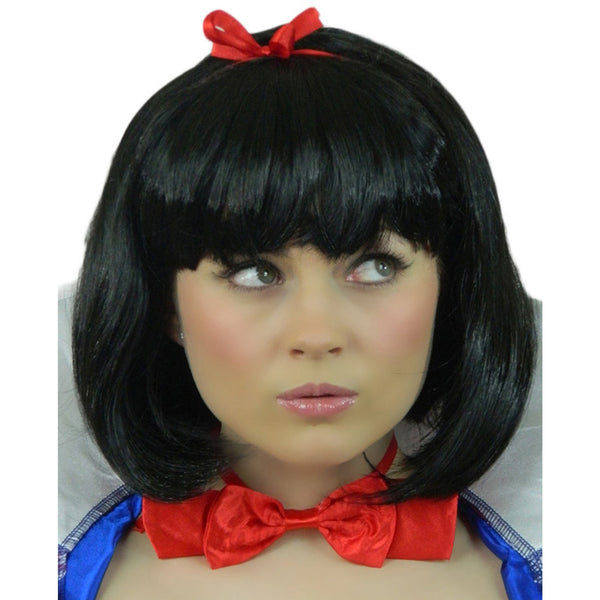 snow white adult black bob fancy dress wig