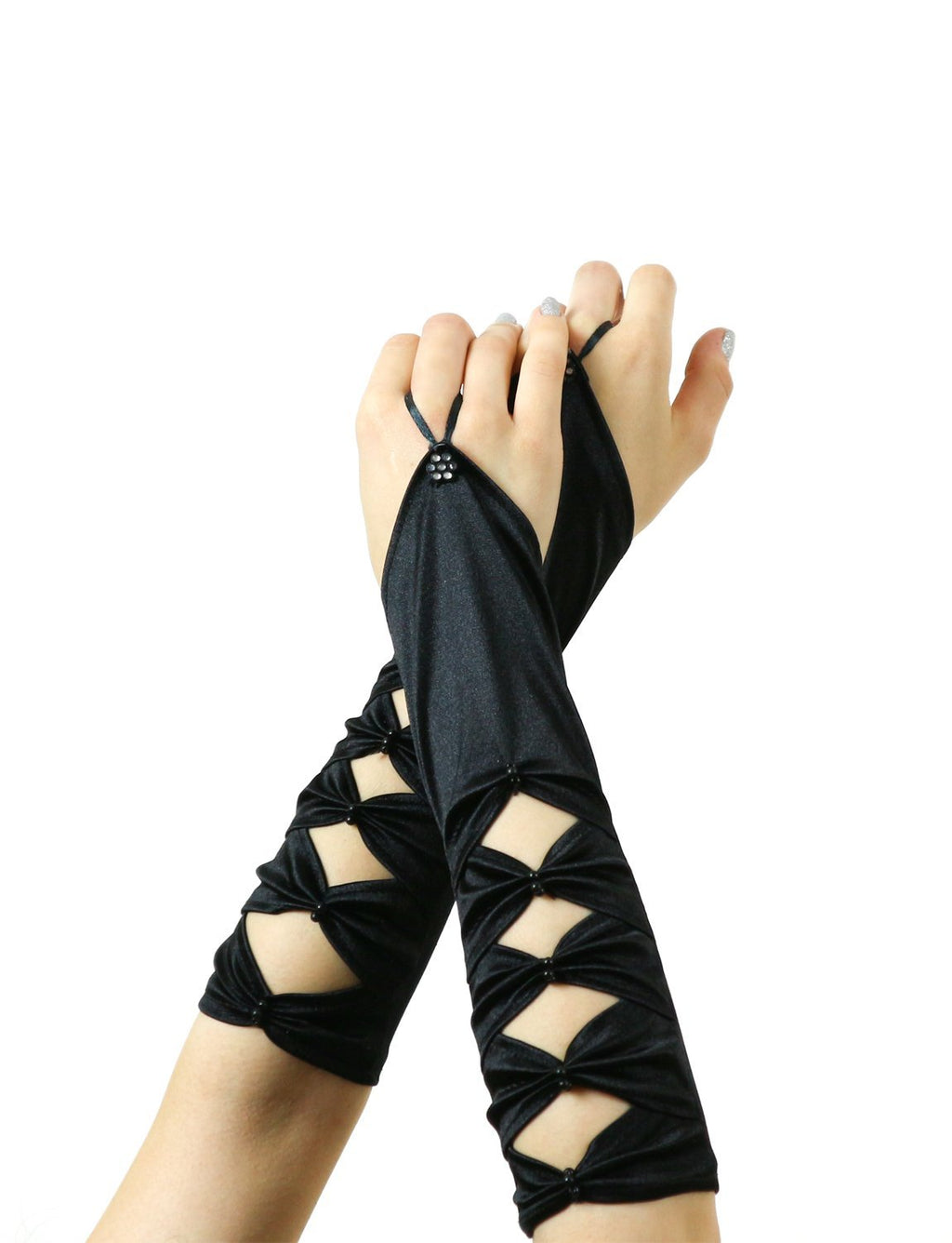Long Satin Fingerless Opera Gloves