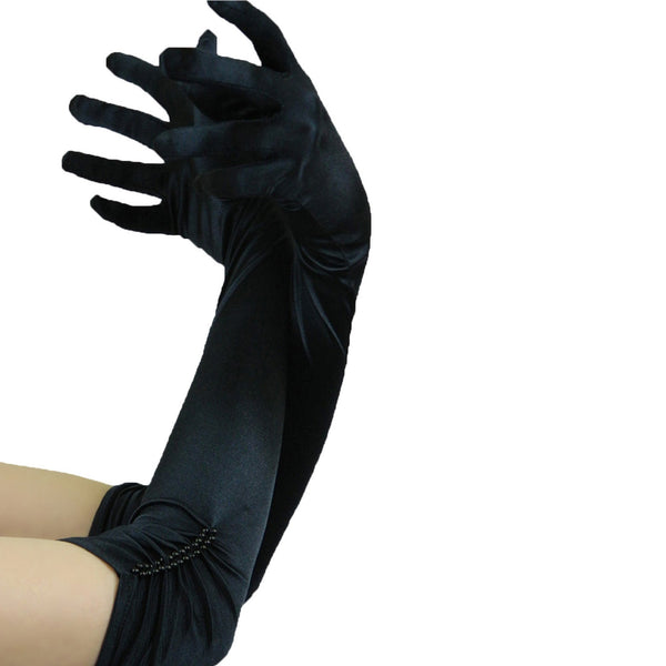 satin opera gloves black