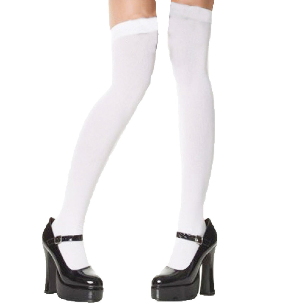fairytale white over the knee semi opaque stockings