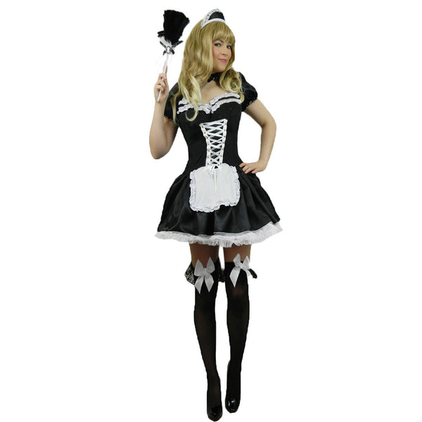 French Maid Fancy Dress Costume Plus Size 8-28