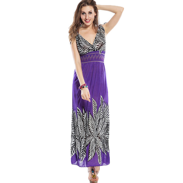 Purple Palm Leaf Summer Dress