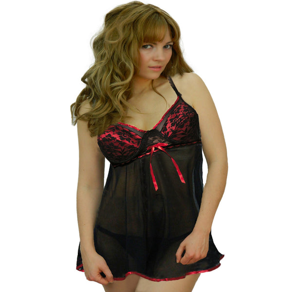 Floral Lace Satin Babydoll Red