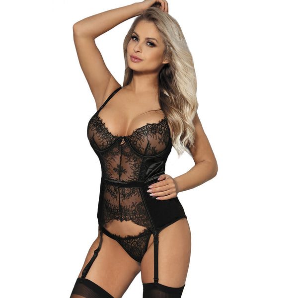 Black Lace Bustier Lingerie Suspender Set