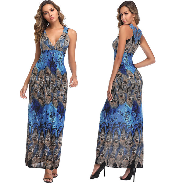 Yummy Bee Ladies Bohemian Blue Maxi Summer Dress