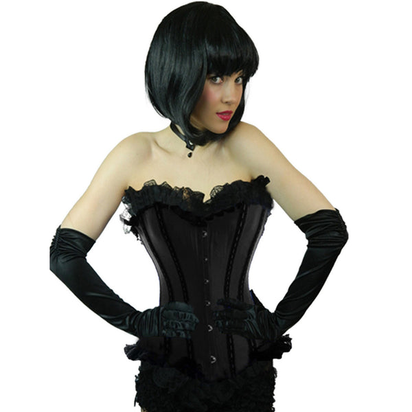 Ladies Plus Size Black Coloured Satin Corset