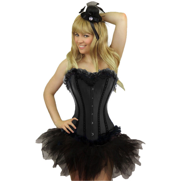 Ladies Plus Size Black Coloured Satin Corset & Tutu